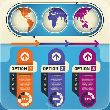 Abstract Infographic with Stripes & Globes - Free vector #170411