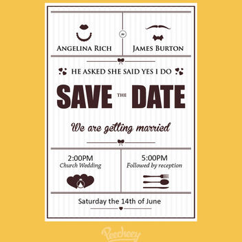 Simple Vintage Wedding Card Template - vector gratuit #170441