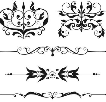 Ornamental Floral Swirls Pack - vector #170501 gratis
