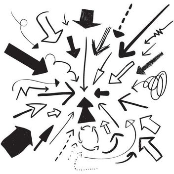 Abstract Hand Drawn Arrow Set - Free vector #170531