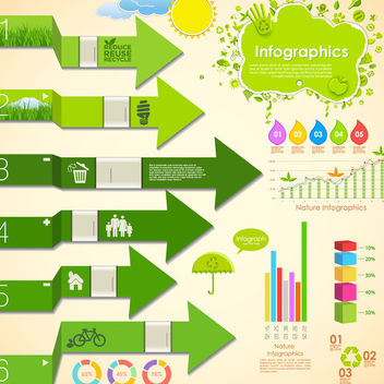 Green Ecology Infographic Pack - vector #170541 gratis