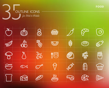 Food Icon Pack Outline - vector #170591 gratis
