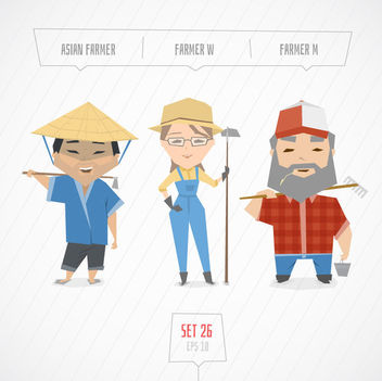 Men Woman Funky Farmer Characters - бесплатный vector #170621