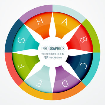 White Wheel on Colorful Circular Infographic - vector #170691 gratis