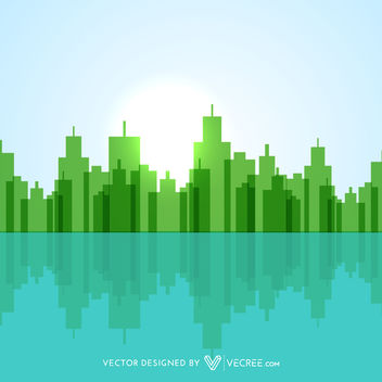 Geometric Abstract Green Lakeside City - vector gratuit #170711