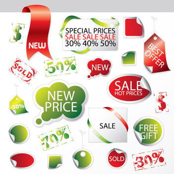 Promotional Sales Package Label & Tag Set - vector gratuit #170751