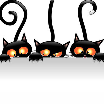 Creepy Halloween Cats Holding Blank Banner - Free vector #170791