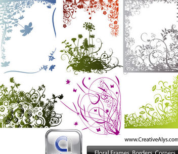 Floral Frame Border and Corner Pack - vector #170851 gratis