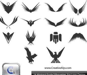 Silhouette Abstract Eagles & Wings Pack - Kostenloses vector #170861
