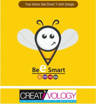 Bee Smart T-Shirt Design - Free vector #170901