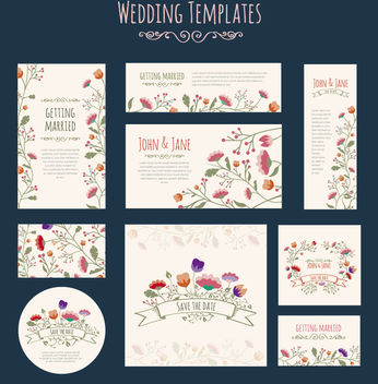 Wedding Invitation Flowers template - vector gratuit #171401