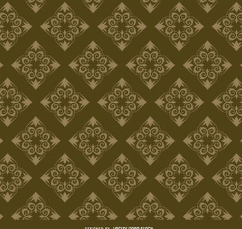 Rhomb golden floral pattern - Free vector #171441