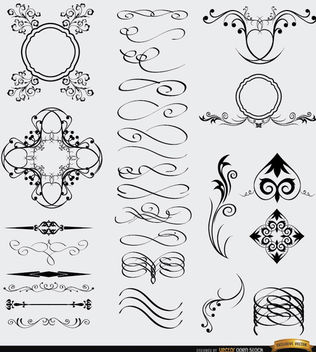 28 Decorative Celtic Gothic Arabic elements - Free vector #171521