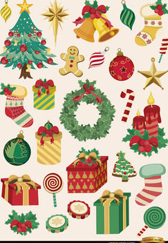 28 Christmas elements and objects - vector gratuit #171541