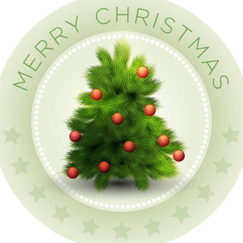Vintage Christmas Emblem with Mistletoes - Kostenloses vector #171571