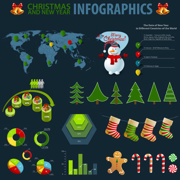 Christmas Themed Simplistic Infographic Set - Free vector #171581