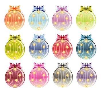 Colorful Set of Decorative Christmas Baubles - Free vector #171591