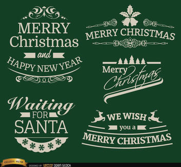 5 Elegant Christmas labels - Free vector #171611