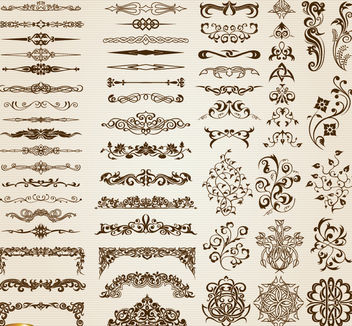 60 Floral swirls Ornaments and dividers set - Free vector #171621