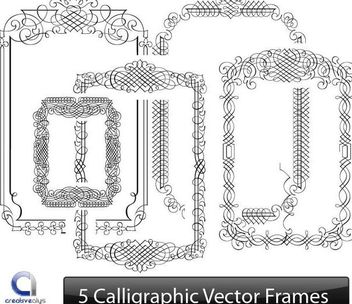 Creative Line Art Calligraphic Frame Set - Free vector #171631