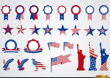 USA round ribbons and decoration set - vector #171641 gratis