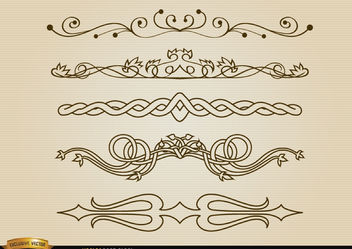 Decorative division lines set - бесплатный vector #171661