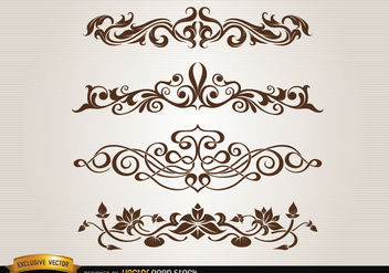 Leaves floral and swirls decoration set - vector #171671 gratis
