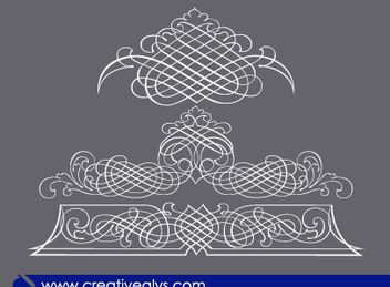3 Calligraphic Line Art Ornaments - Free vector #171731
