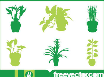 Interior House Plant Set Silhouette - Free vector #171751