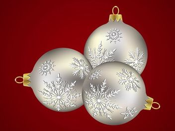 Silver Xmas Balls with Snowflake Decoration - Free vector #171801