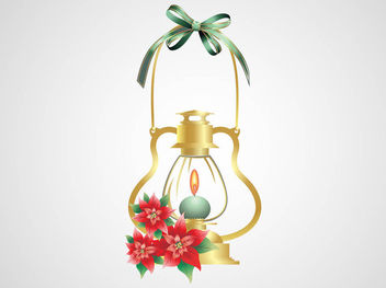 Burning Candle Decorative Christmas Lamp - Free vector #171811