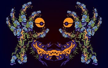 Psychedelic Ornamental Mask - Free vector #171971