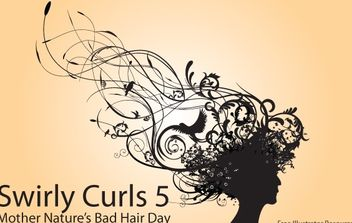 Silhouette Curly Swirl Bad Hair - vector gratuit #172151