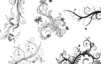5 Fantasy Floral Decorative Ornaments - vector gratuit #172161