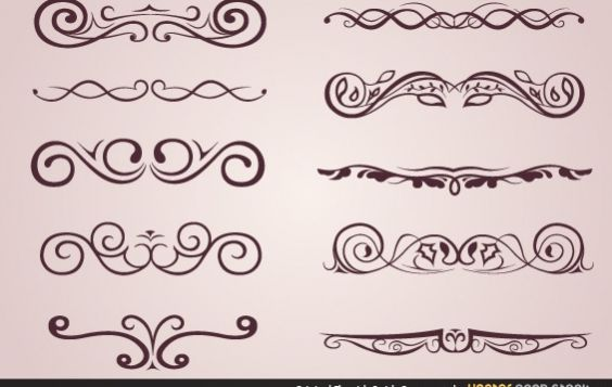 Original Flourish Swirls Ornaments - vector gratuit #172181