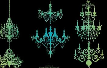Six Vintage Chandeliers - Free vector #172201