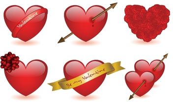 6 Valentine's hearts - Free vector #172411
