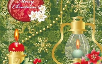 Floral merry christmas with oil lamp - Free vector #172481