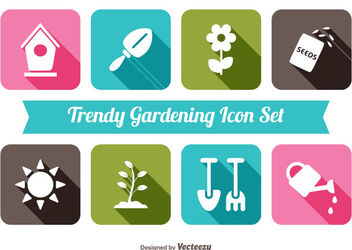 Flat Gardening Icon Set - Free vector #172901