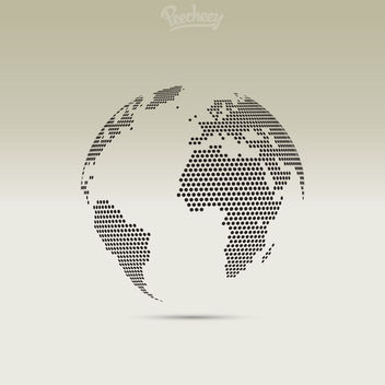 3D Pixel Dotted Map Globe - Free vector #172921
