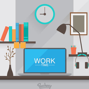 Workspace Cartoon Computer Desk - Free vector #172981