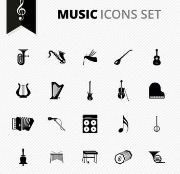Black & White Musical Instrument Icons - Free vector #172991