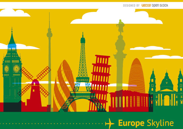 Skyline de monuments de l'Europe - vector gratuit #173011