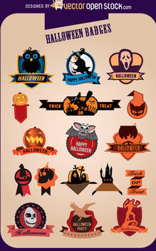 17 Halloween Creative Badges - бесплатный vector #173061