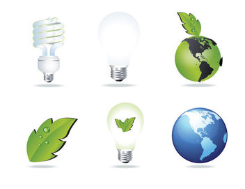 Eco and Energy Saving Glossy Icon Set - Free vector #173111