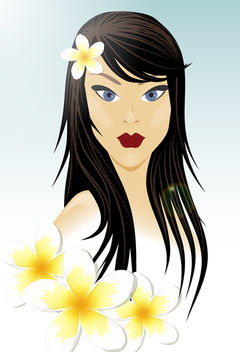 Oriental Girl with White Flowers - Free vector #173131