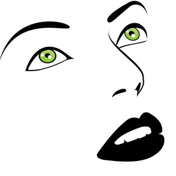 Green Eyes Woman Face Sketch - vector gratuit #173161
