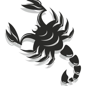 Black & White Flat Scorpion - Free vector #173211