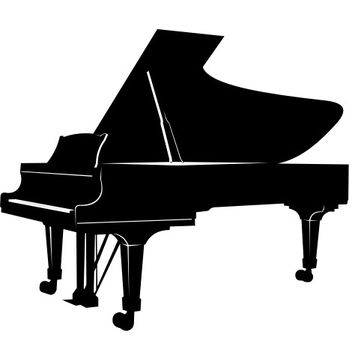 Black and White Piano Silhouette - vector gratuit #173231