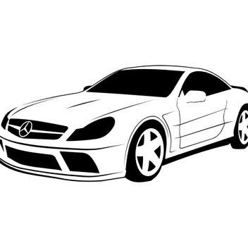 Sketchy Traced Mercedes-Benz SL - vector gratuit #173271